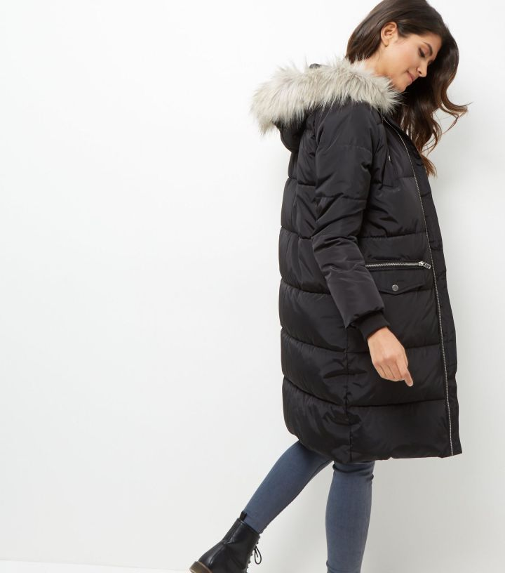black-padded-faux-fur-trim-puffer-coat